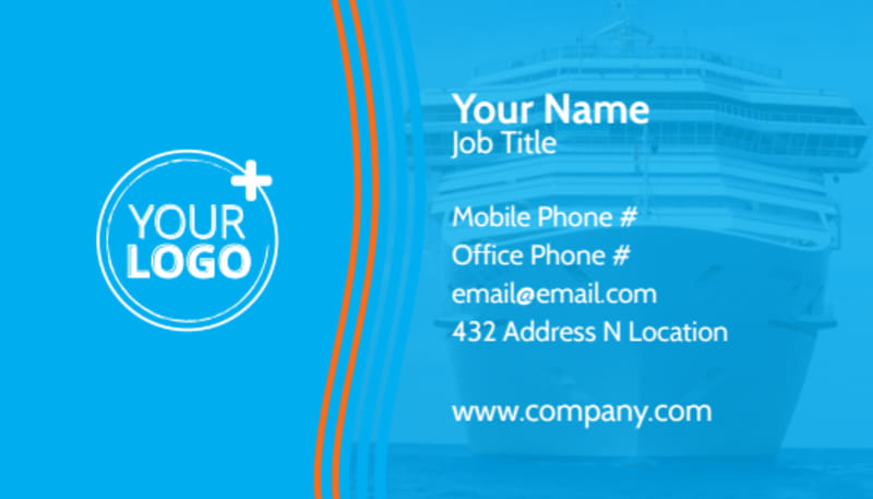 Cruise Ship Vacation Business Card Template Preview 2