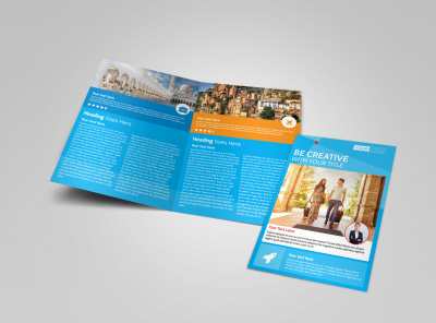 Awesome Travel Agents Bi-Fold Brochure Template preview