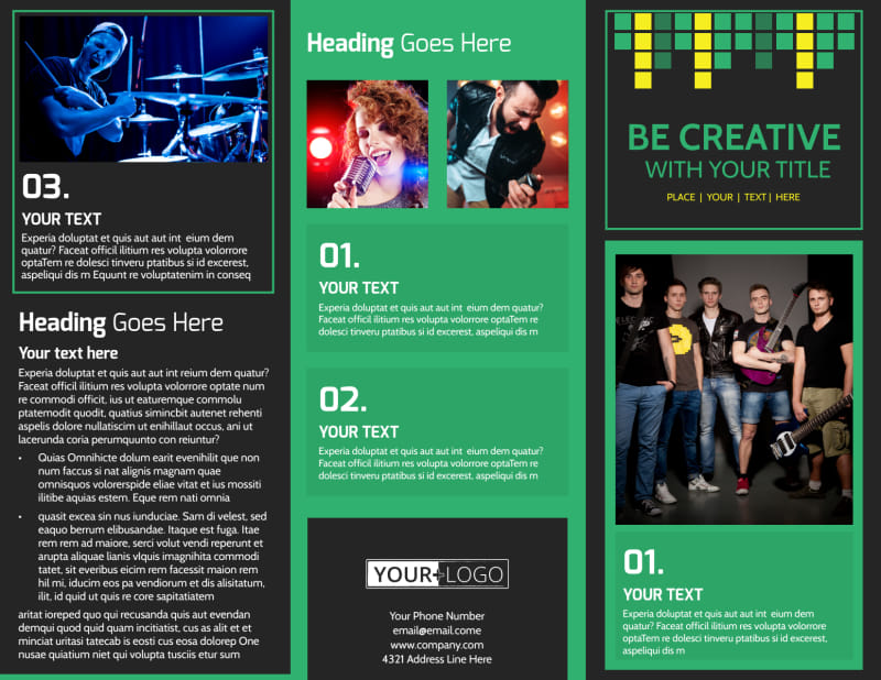 Popular Music Band Brochure Template Preview 2