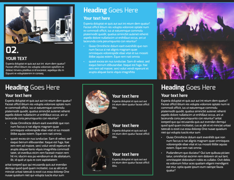 Popular Music Band Brochure Template Preview 3