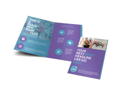 Aerobics Class Bi-Fold Brochure Template preview