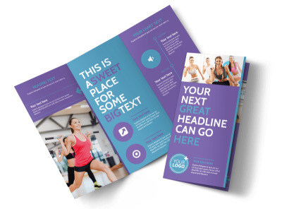 Aerobics Class Tri-Fold Brochure Template preview