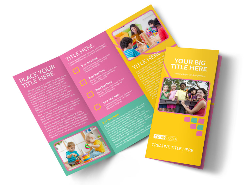 Fun Daycare Service Tri-Fold Brochure Template