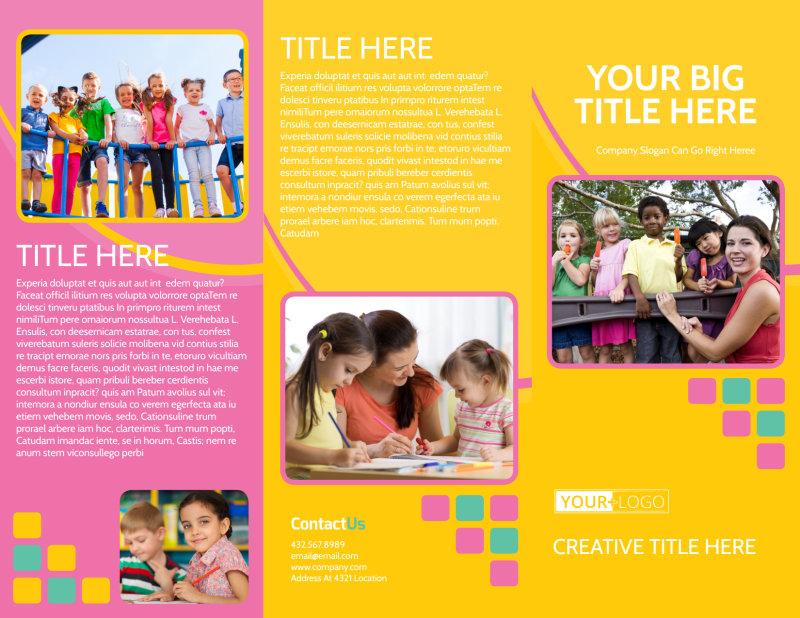 Fun Daycare Service Brochure Template Preview 2
