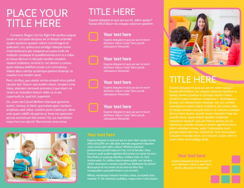 Fun Daycare Service Brochure Template Preview 3