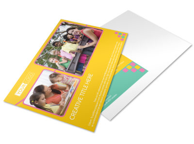 Fun Daycare Service Postcard Template preview