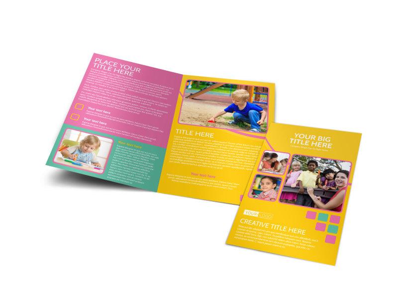 Fun Daycare Service Bi-Fold Brochure Template