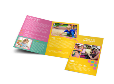 Fun Daycare Service Bi-Fold Brochure Template preview