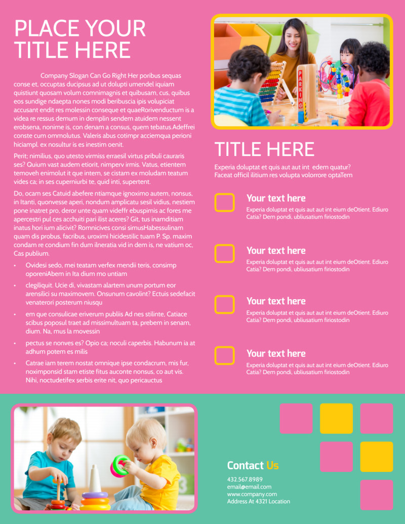 Fun Daycare Service Flyer Template Preview 3
