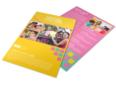 Fun Daycare Service Flyer Template preview