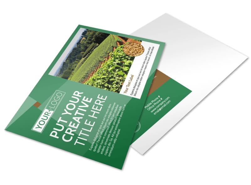 Agriculture Farm Services Postcard Template