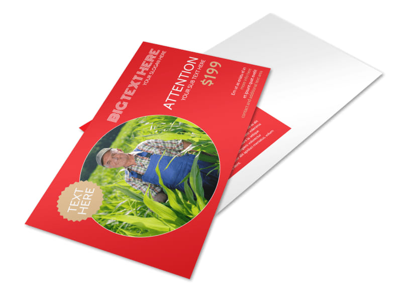 Agricultural Farm Consultants Postcard Template