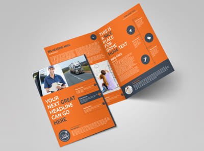 moving company bi fold brochure template