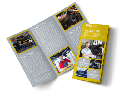 Auto Body & Repair Tri-Fold Brochure Template preview