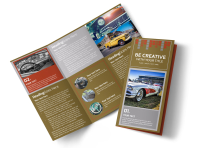 Amazing Rides Car Show Tri-Fold Brochure Template preview