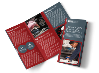 Dependable Car Mechanic Tri-Fold Brochure Template preview
