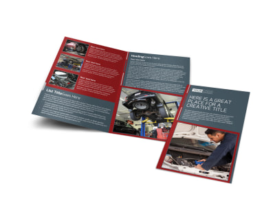 Dependable Car Mechanic Bi-Fold Brochure Template preview