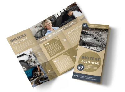 Collision & Glass Repair Tri-Fold Brochure Template preview