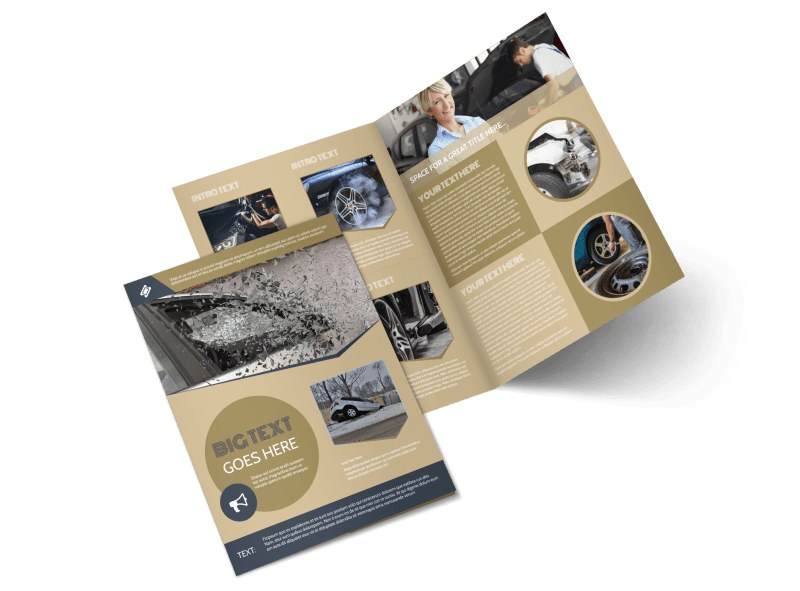 Collision & Glass Repair Bi-Fold Brochure Template