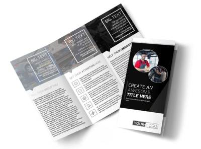 Auto Body Mechanics Tri-Fold Brochure Template preview
