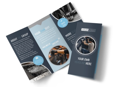 Auto Body & Glass Tri-Fold Brochure Template preview