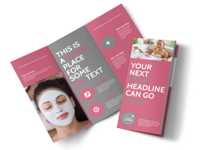Beauty Lounge Tri-Fold Brochure Template preview