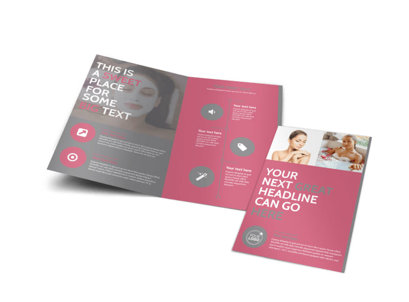 Beauty Lounge Bi-Fold Brochure Template