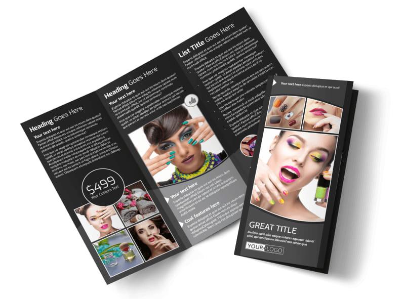 Elegant Nail Salon Tri-Fold Brochure Template