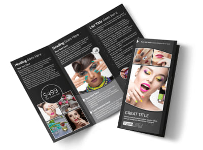 Elegant Nail Salon Tri-Fold Brochure Template preview