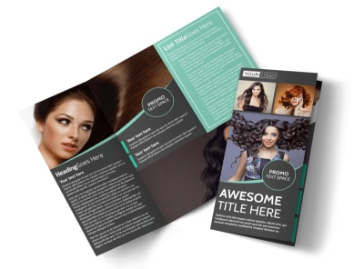 Moxie Hair Salon Tri-Fold Brochure Template preview