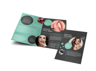 Hair & Makeup Salon Bi-Fold Brochure Template preview