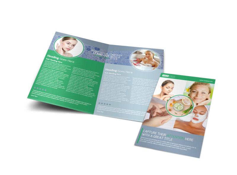 Total Beauty Skin Care Bi-Fold Brochure Template