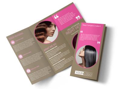 Hair Artists Salon Tri-Fold Brochure Template preview