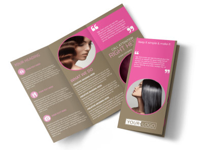 Hair Artists Salon Tri-Fold Brochure Template preview