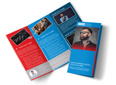 Downtown Barber Shop Tri-Fold Brochure Template preview