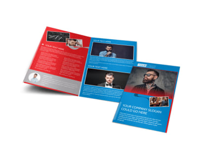 Downtown Barber Shop Bi-Fold Brochure Template preview