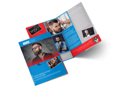 Downtown Barber Shop Bi-Fold Brochure Template preview