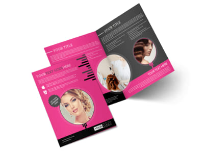 Beauty Queen Salon Bi-Fold Brochure Template