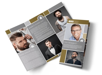 Local Barber Tri-Fold Brochure Template preview