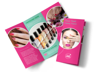 Polished Nail Spa Tri-Fold Brochure Template preview
