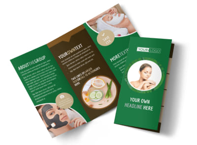 Spa Facial Treatments Tri-Fold Brochure Template preview