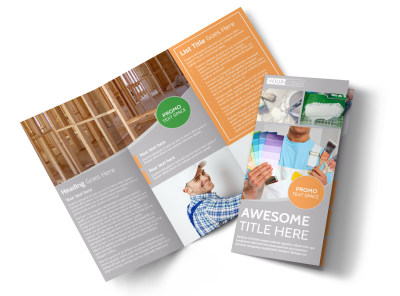 Home Drywall & Painting Tri-Fold Brochure Template preview