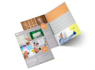 Home Drywall & Painting Bi-Fold Brochure Template preview