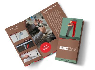 Dependable Plumbing Tri-Fold Brochure Template preview