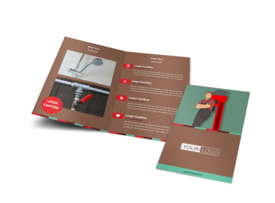 Dependable Plumbing Bi-Fold Brochure Template preview