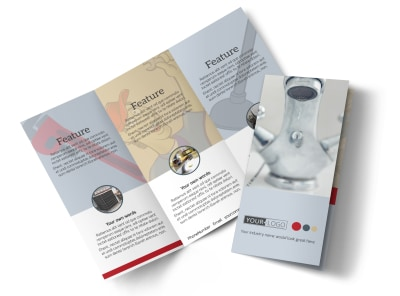 Heating & Plumbing Professionals Tri-Fold Brochure Template preview