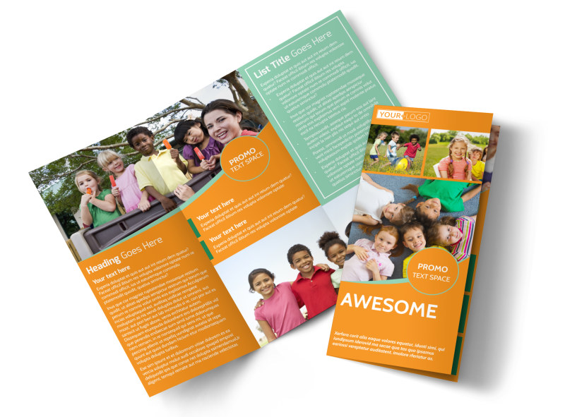 Kids Christian Child Care Tri-Fold Brochure Template