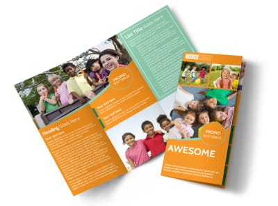 Kids Christian Child Care Tri-Fold Brochure Template preview