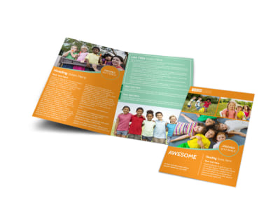 kids christian child care bi fold brochure template