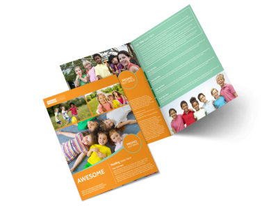 Kids Christian Child Care Bi-Fold Brochure Template